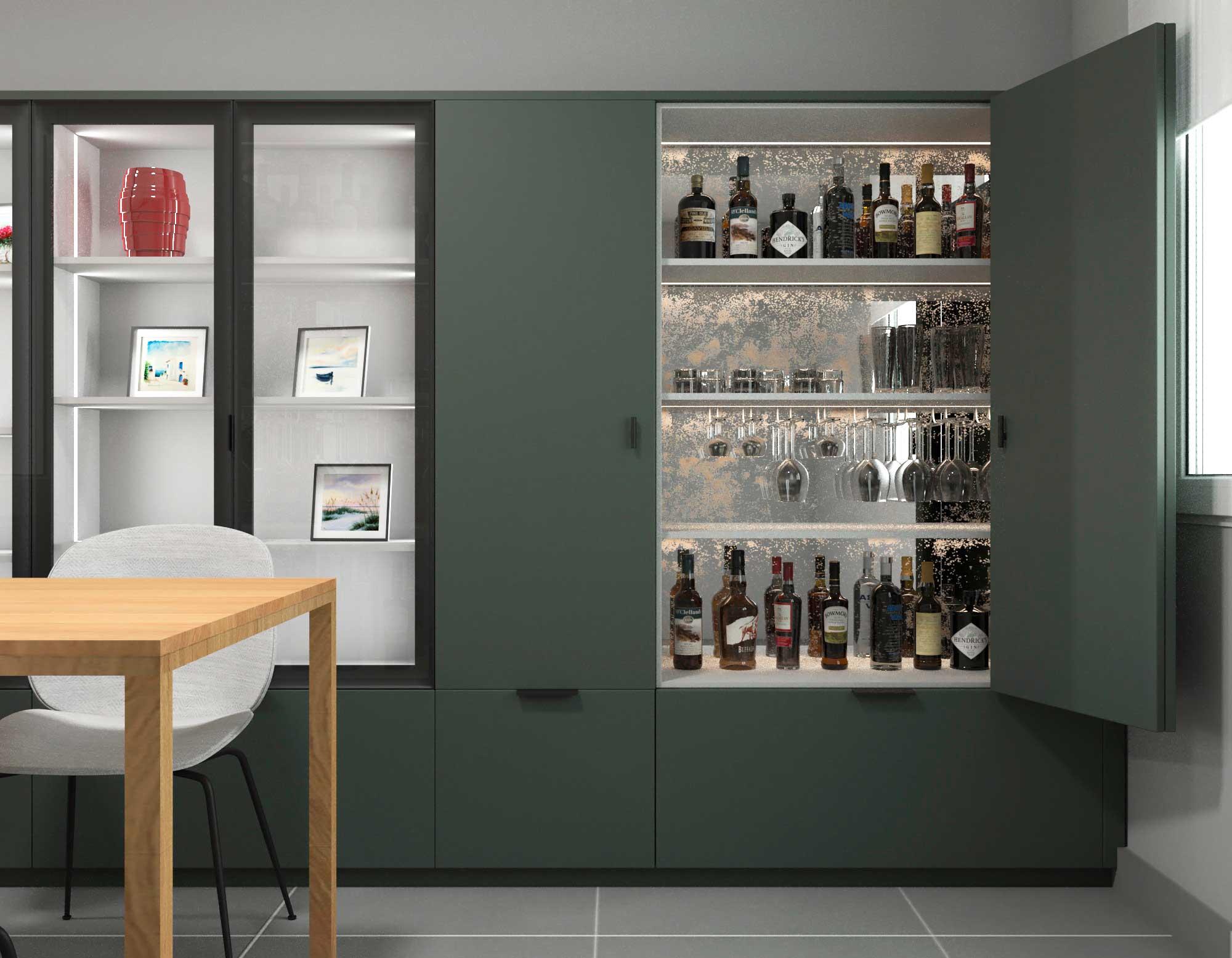 Bar integrado en la cocina